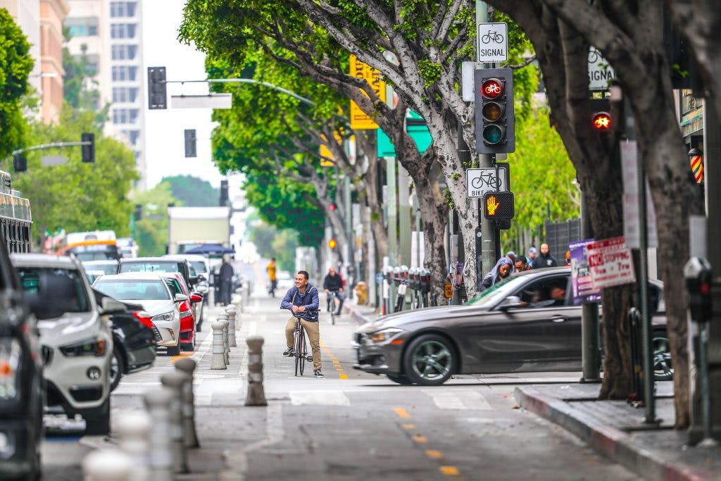 Protected bike in Los Angeles, Credit: Los Angeles Department of Transportation