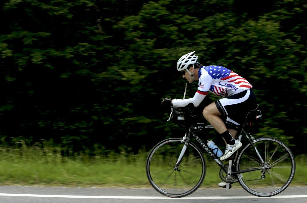 Jason Rogers, Air Force veteran, rides to raise money for the Wounded Warrior Project. (Source: U.S. Air Force photo/Airman 1st Class Jarrod Grammel.)