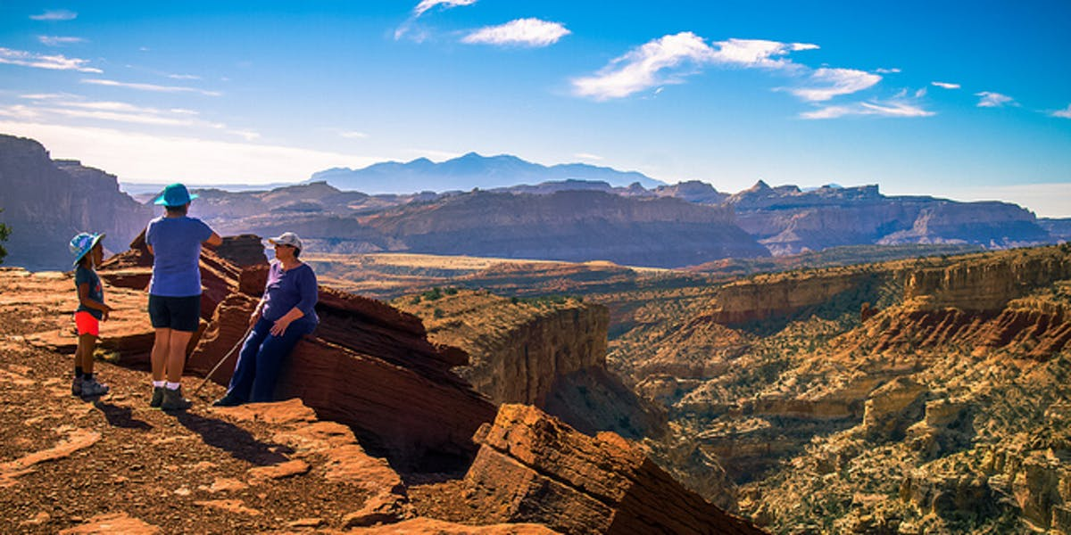 Mother, daughter and grandmother take in the scenery at Capitol Reef National Park. Source: Ian D. Keating; Flickr.