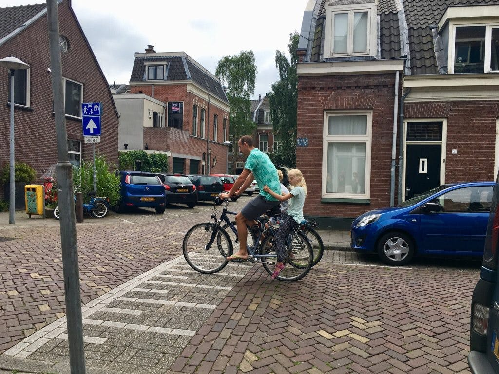 A family biking in the Netherlands.