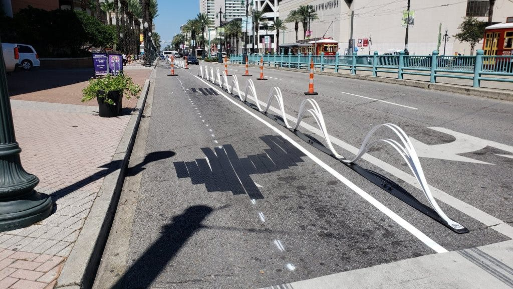 A pop-up bike lane, built as part of the Connect the Crescent project.