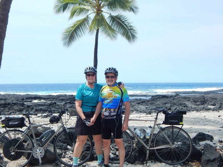 Martin and Libby Rose pose during an e-bike tour in Hawaii.
