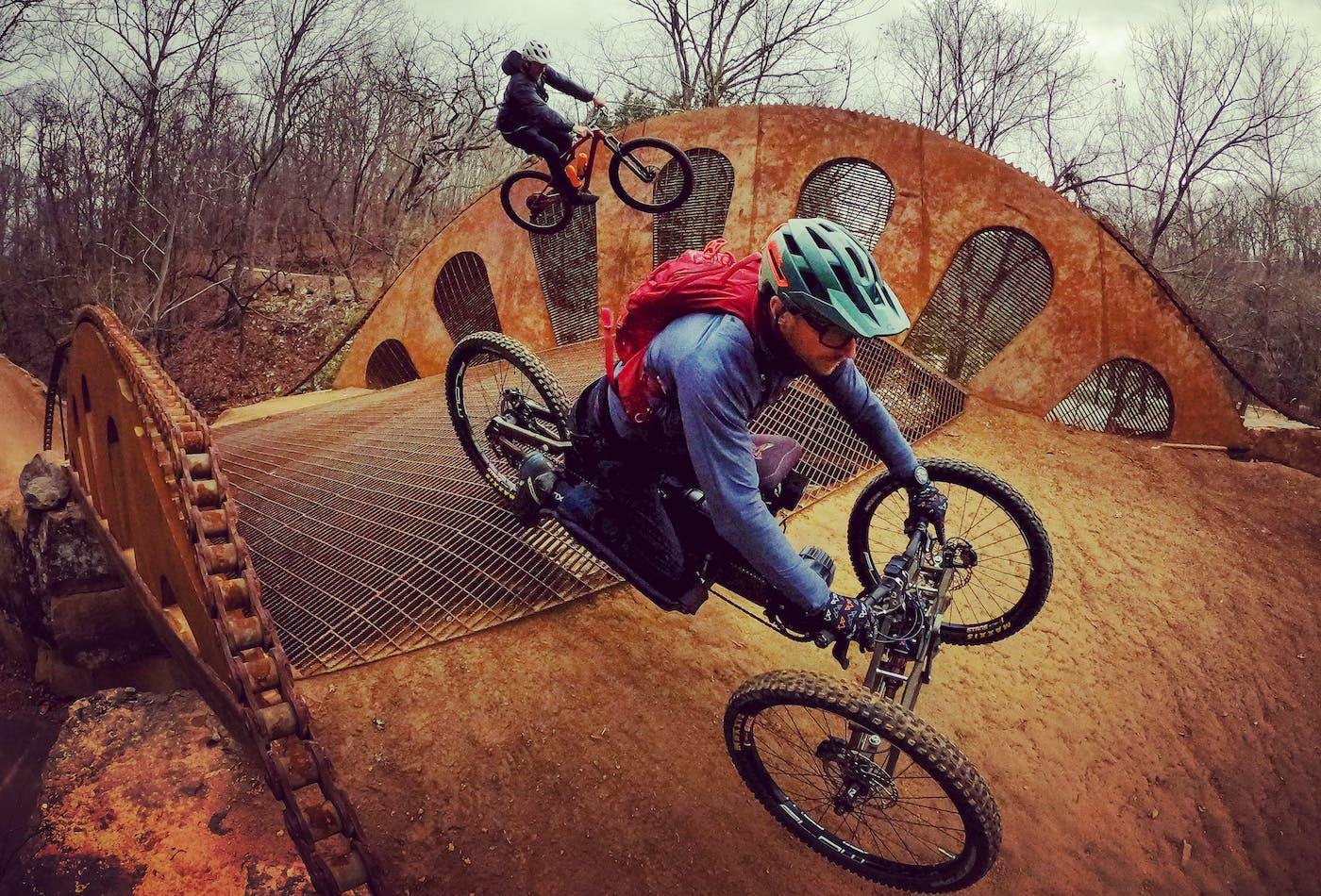 Jeremy McGhee rides his Sport-On adaptive mountain bike in Bentonville, Arkansas.