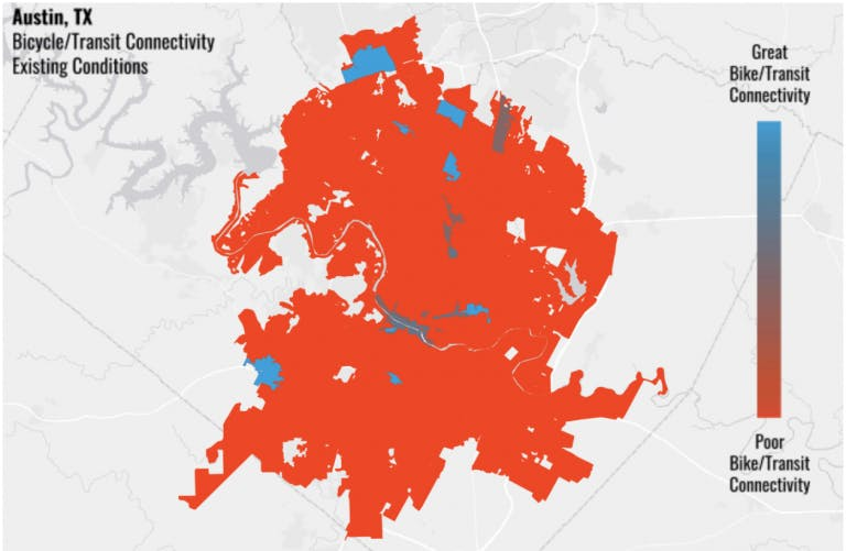 Blue areas indicate where Austin residents currently have safe, comfortable bicycle access to high-capacity transit in today's existing conditions. Both the limited range of transit stations and the disconnected bicycle network contribute to a lack of access between these two modes of travel. (Source: Bicycle Network Analysis)