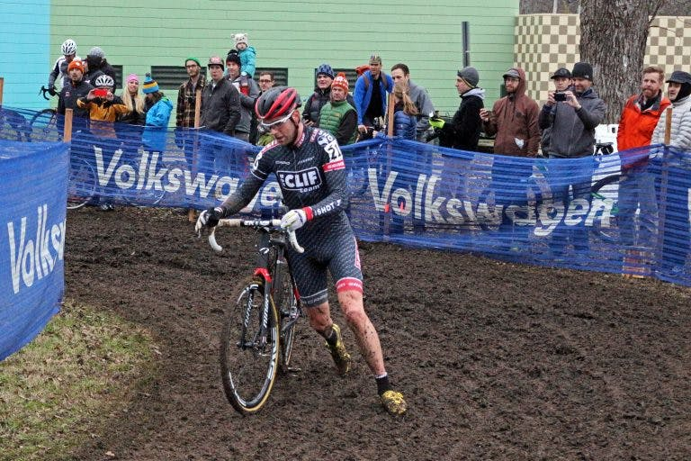 Troy Wells on a muddy course. (Photo: Dylan Seguin; courtesy of Troy Wells.)