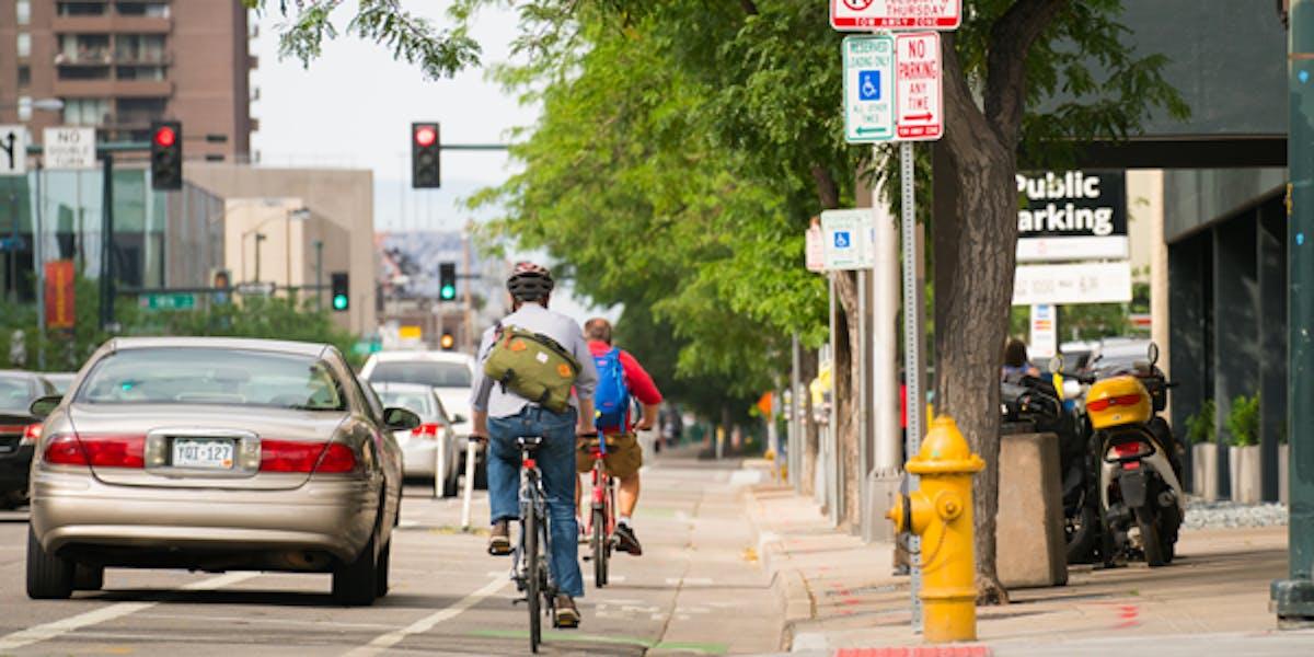 Bikers in an urban bike lane