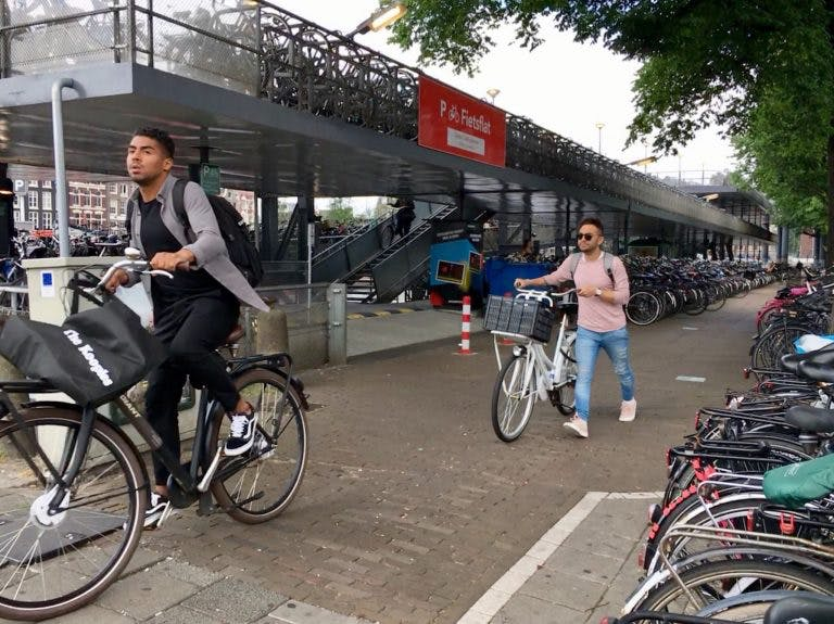 The parking garage at Amsterdam Centraal train station.
