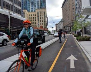 Biking in Seattle.