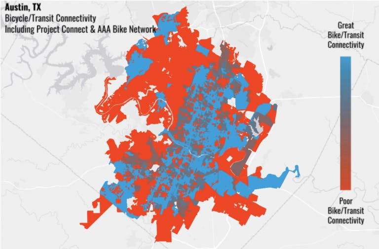 By fully constructing the All Ages and Abilities Bicycle Network alongside Project Connect's high-capacity transit system, 16x more Austin residents will be able to safely access the transit network – as fiscal bargain for transit operators and a boon for any resident wanting to leave their car at home. (Source: Bicycle Network Analysis)