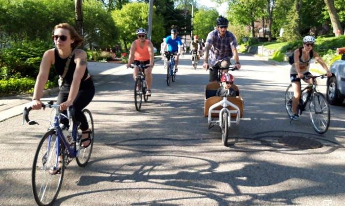 Biking in Madison, Wisconsin.