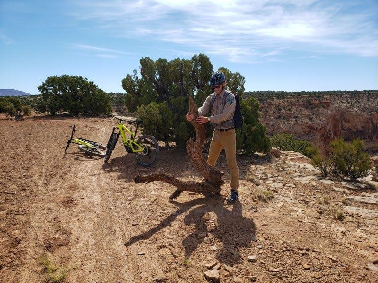 Blake Baker performing trail maintenance duties.