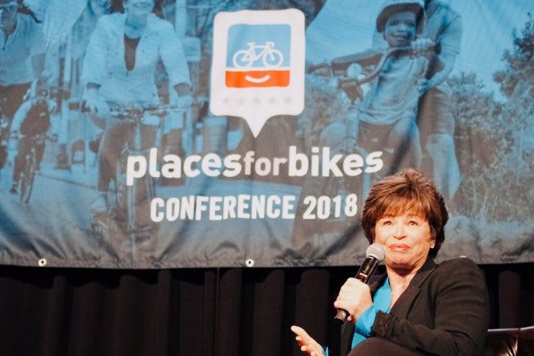 Valerie Jarrett at the 2018 PlacesForBikes Conference.