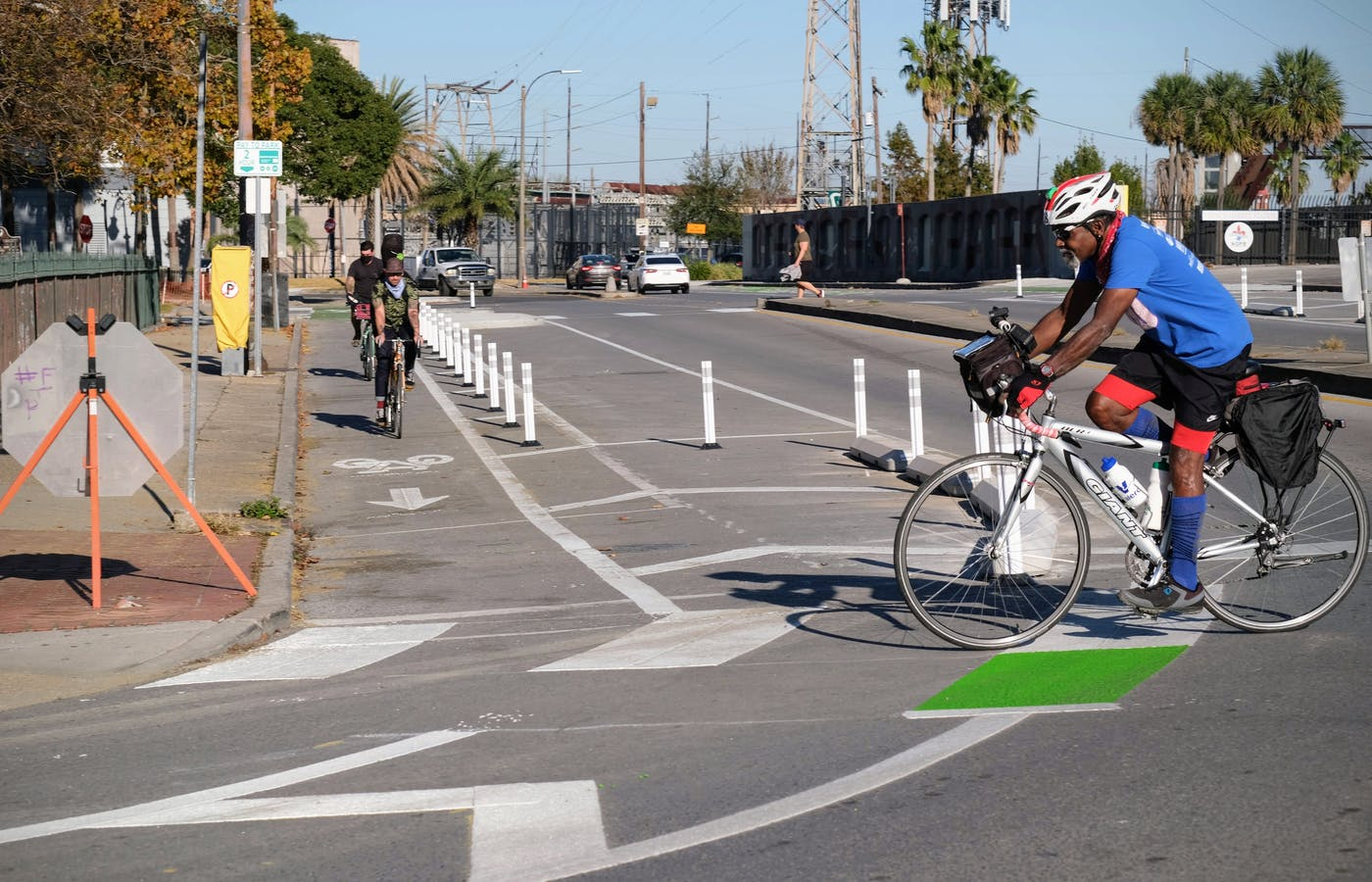 A protected bike lane in New Orleans, Louisiana.