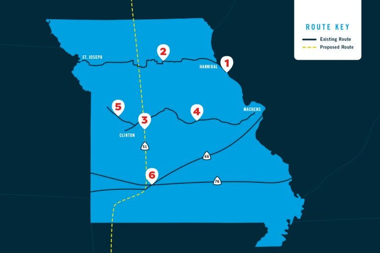 Map of existing and proposed bike routes in Missouri.
