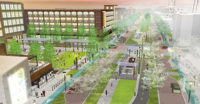 The new Monon Boulevard, under construction in Carmel, Ind., this fall.