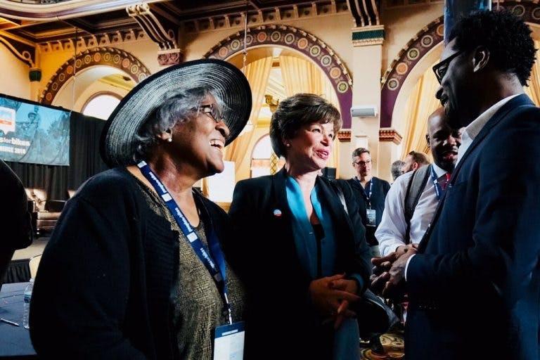 Center for Neighborhood Technology vice president Jacky Grimshaw, Obama Foundation adviser Valerie Jarrett and Go Bronzeville leader Ronnie Harris in Indianapolis last week.