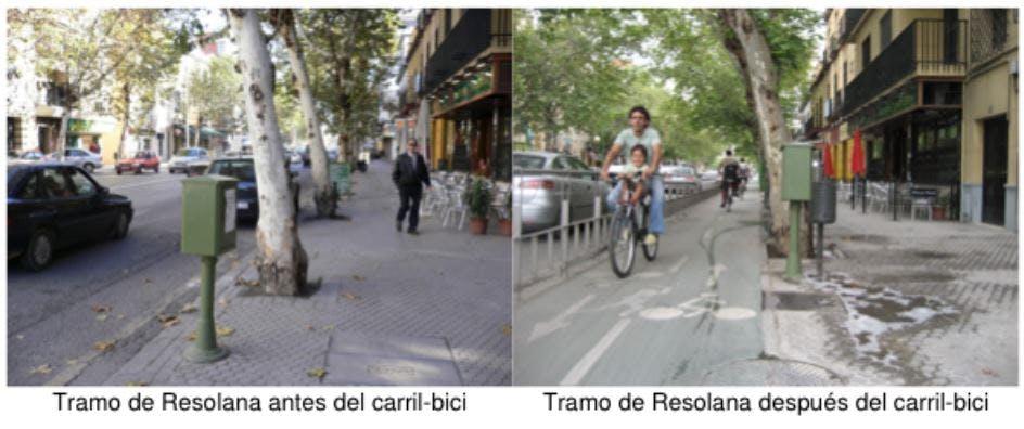 Tramo de Resolana before and after