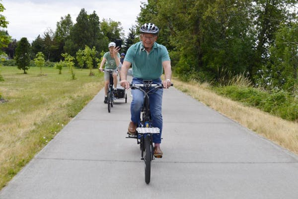 Congressman Peter DeFazio (OR-04) enjoys a bike ride with Bike Friday and Eugene Electric Bicycles. Source: Jarl Berg, Bike Friday.