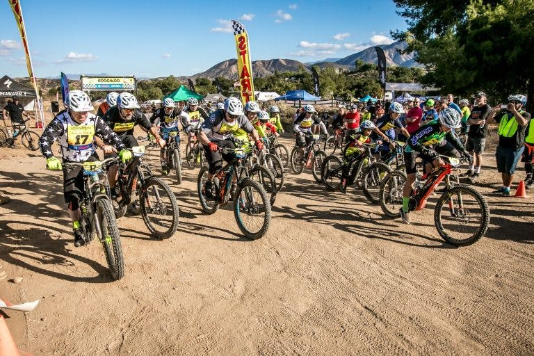 Riders at the start of an electric mountain bike race. (Source: Bosch eBike Systems.)