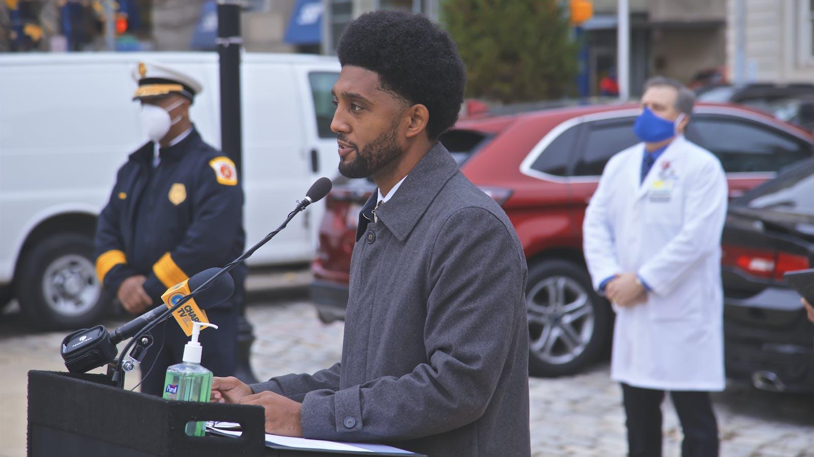 Baltimore Mayor Brandon M. Scott speaking at a press conference last December.