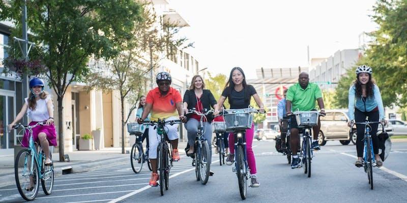 Bike peloton going through urban area