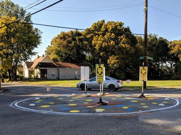 A traffic circle in Memphis.