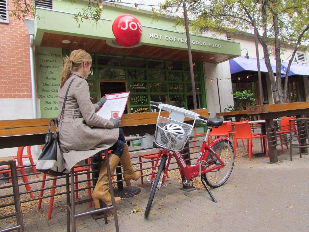 Enjoying a coffee stop in Austin.