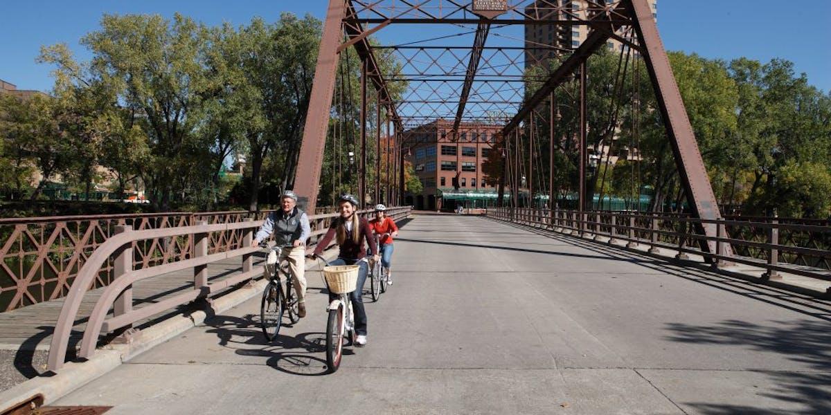 Bikers on a bridge