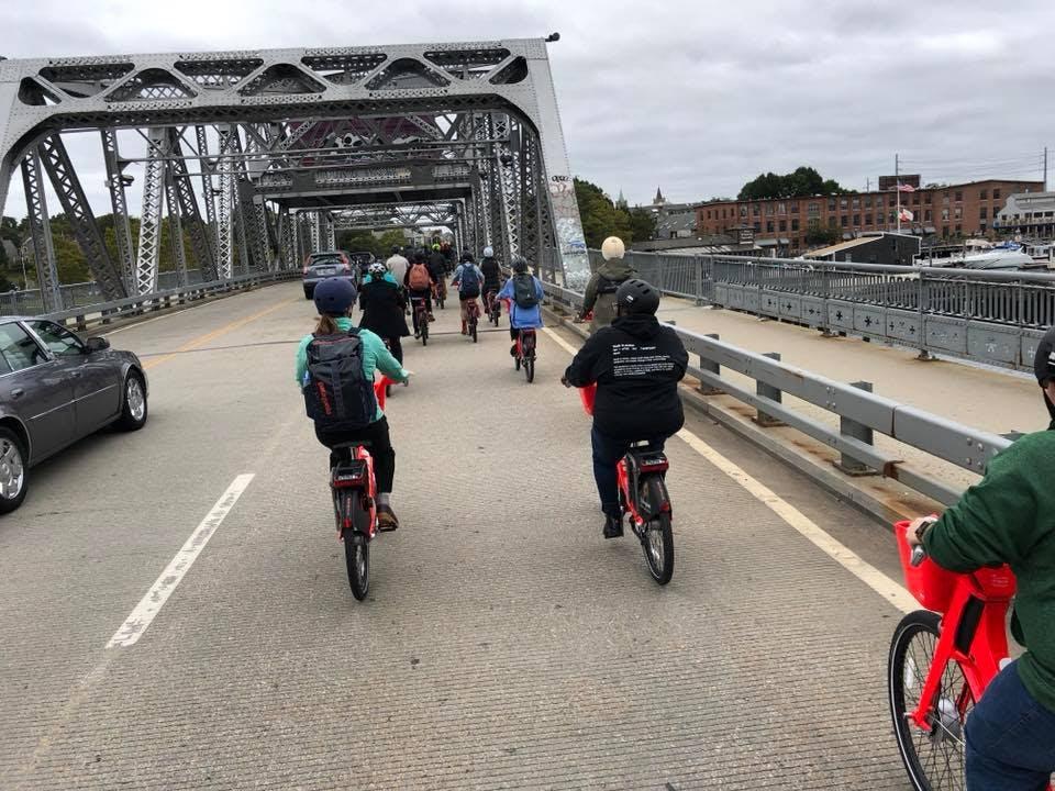 Biking in Providence.