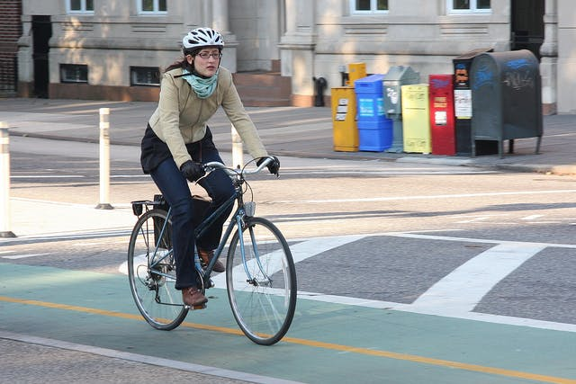 A bicycle commuter.
