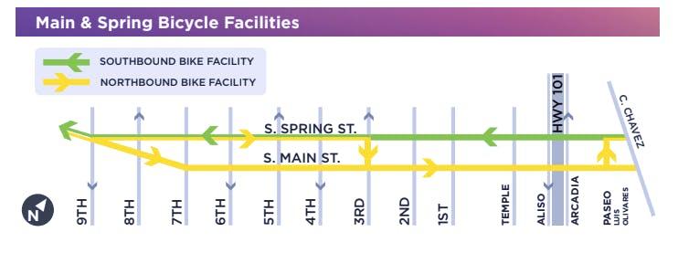 Map of new Spring Street bike lanes.