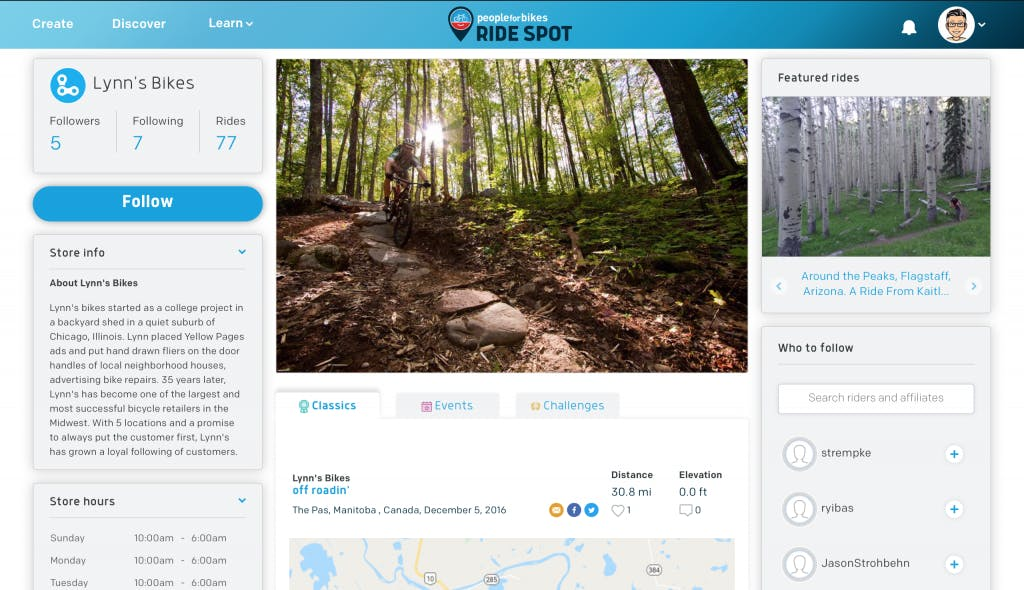 Affiliate profile on Ride Spot.