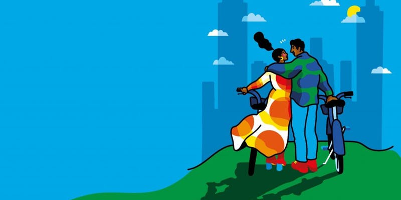 Stylized graphic of a couple and walking bikes towards a city