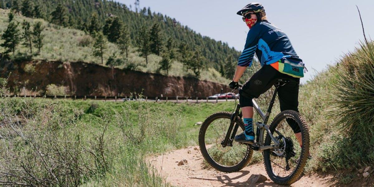 Mountain bike rider on a trail