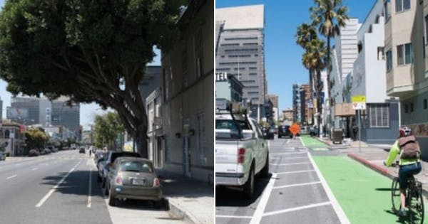 Before/after cross-sections of 7th Street, San Francisco.