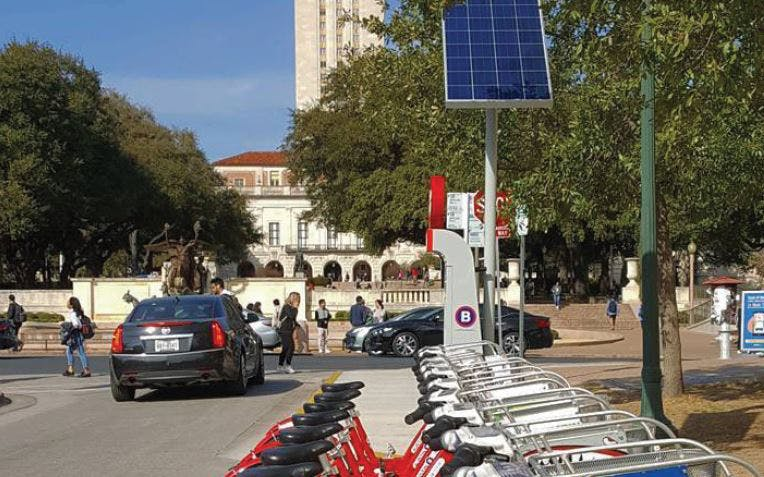 A bike sharing station near the University of Texas campus
