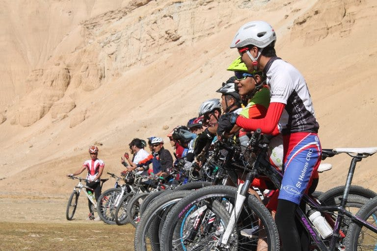 Riders get ready to start the mens race in the Hindukush MTB Challenge.