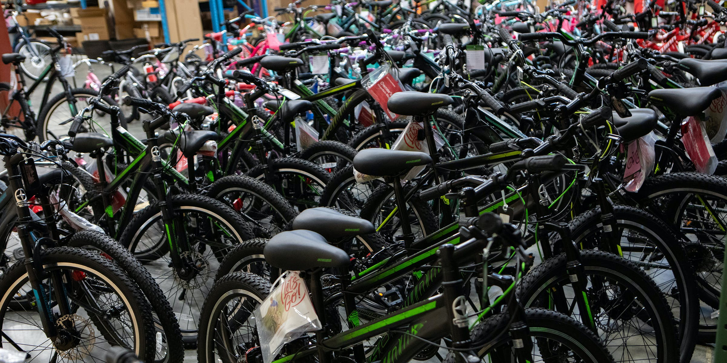 Just some of the hundreds of donated bicycles.