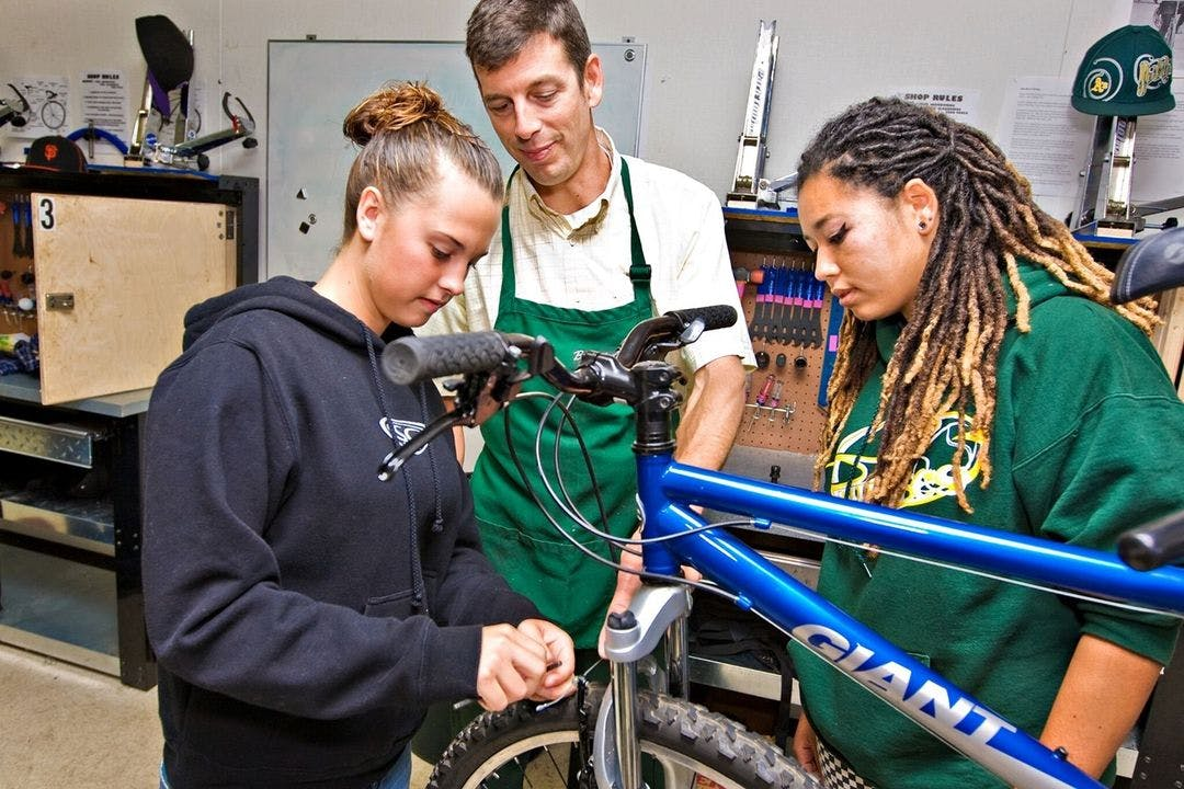 In Project Bike Tech classrooms, students learn mechanical skills but also everything from geometry to city planning. (All photos courtesy of Project Bike Tech)