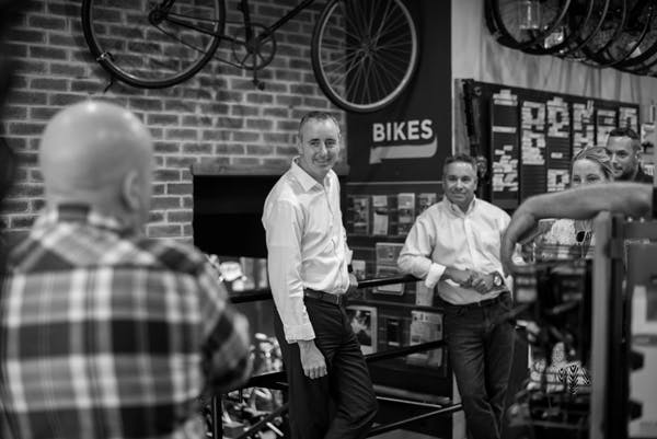 Congressman Brian Fitzpatrick (PA-01) visits with Doylestown Bike Works.