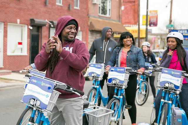 Philadelphia, the original Living Lab, will continue its equity work with Indego bike share as part of a new cohort. (Photo courtesy of Indego)