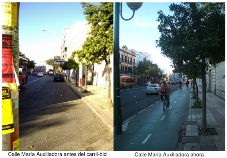 Calle Maria Auxiliadora before and after