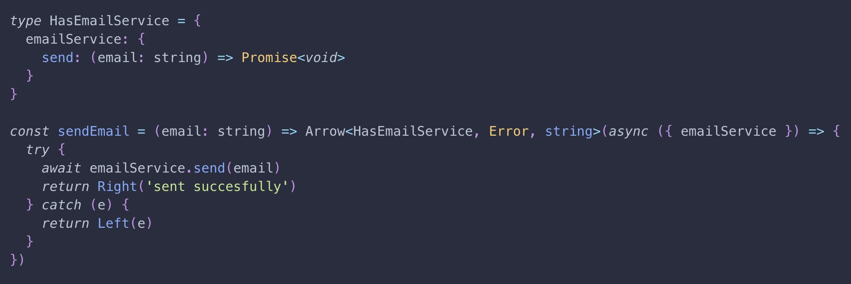 An example function `sendEmail` returning an Arrow, depending on a promise based emailService