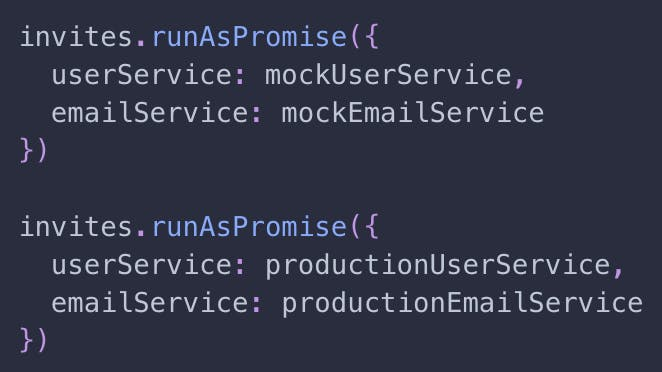 Running our program with mock and production dependencies