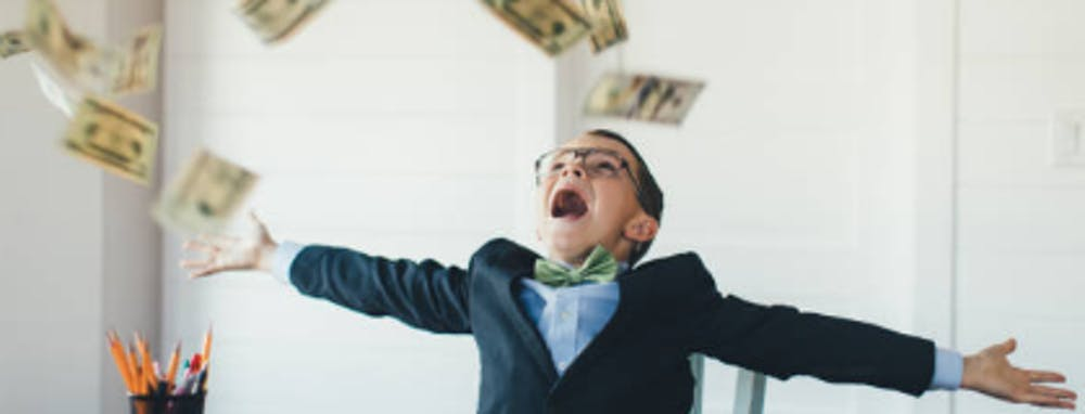 Money in the air with kid