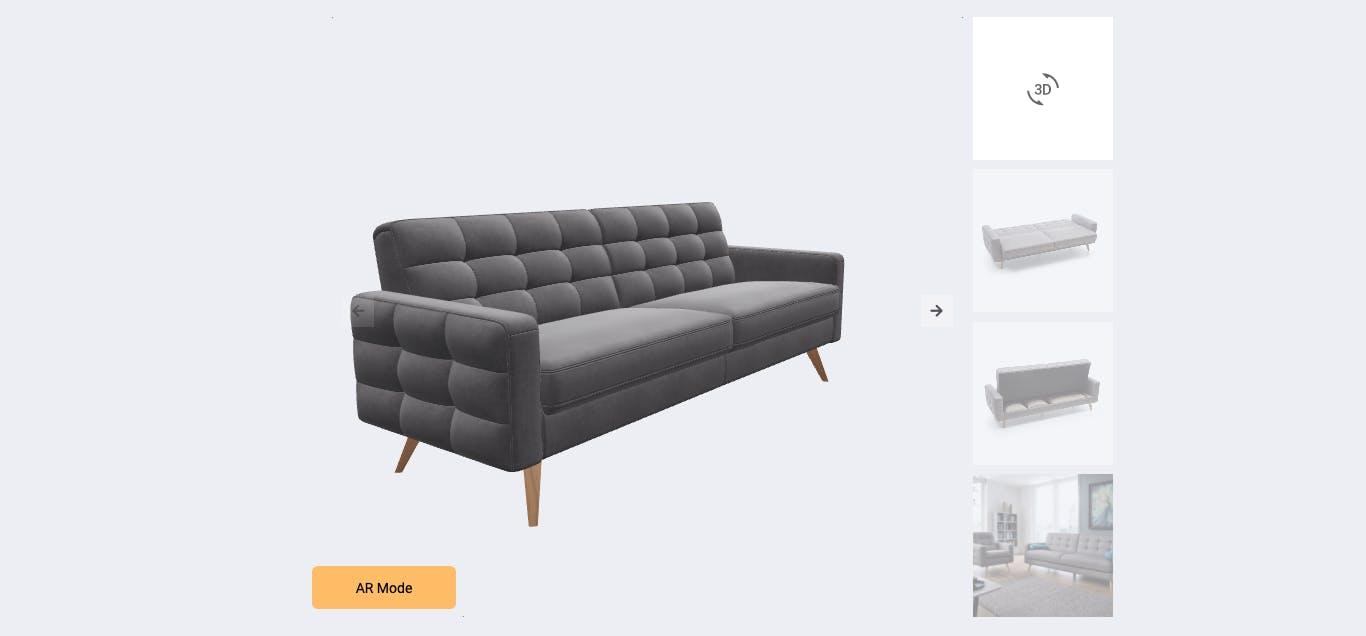 Slideshow displaying a 3D model of a sofa