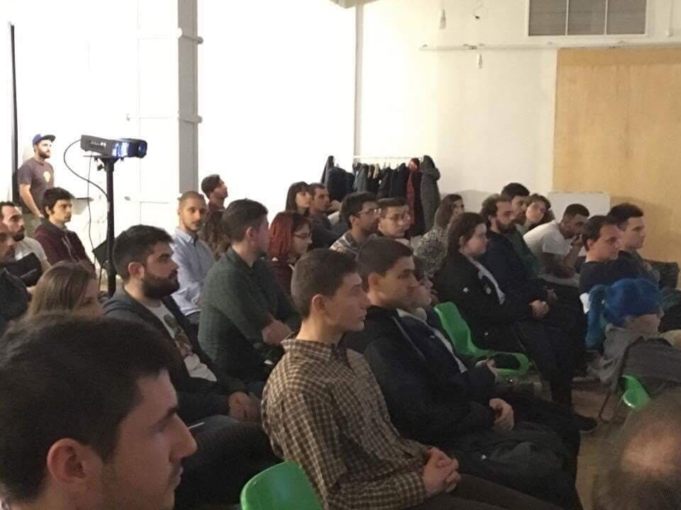 Audience at my talk at first Codepen Meeting in Bulgaria