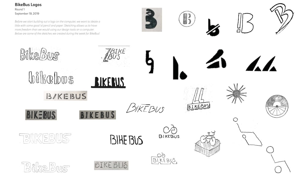 First set of hand-drawn logo sketches