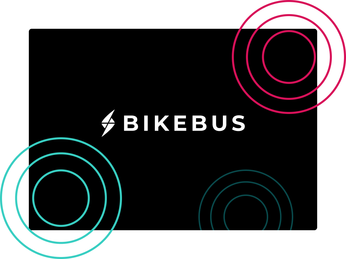 Circles on a black background with the Bikebus logo