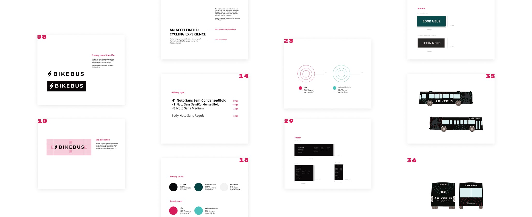 Various pages from the final brand book on a white background